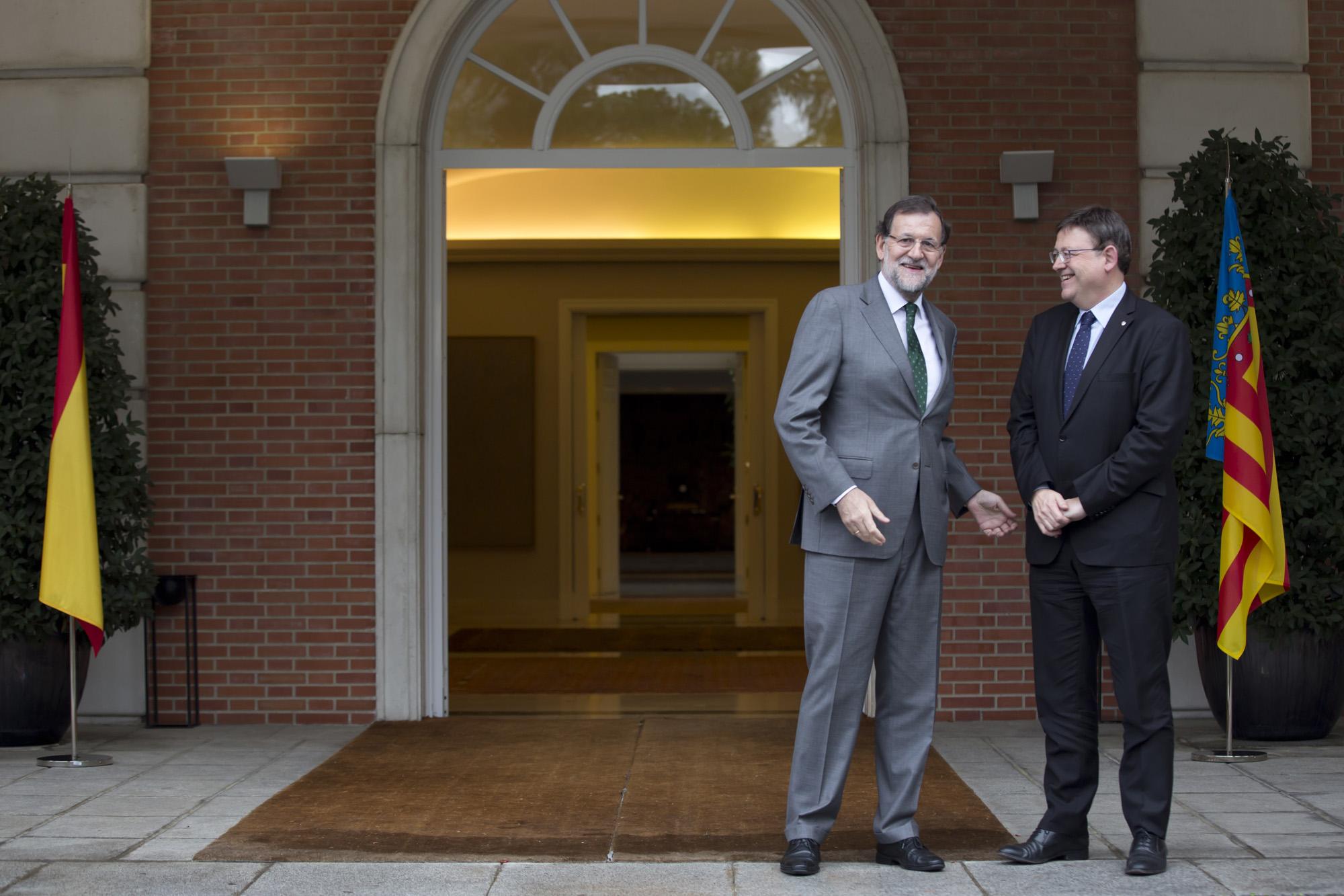 02/11/2015 Madrid, España El Presidente del Gobierno, Mariano Rajoy, recibe al presidente de la Comunidad Valenciana Ximo Puig. Fotografía: Diego Crespo / Moncloa Presidencia del Gobierno