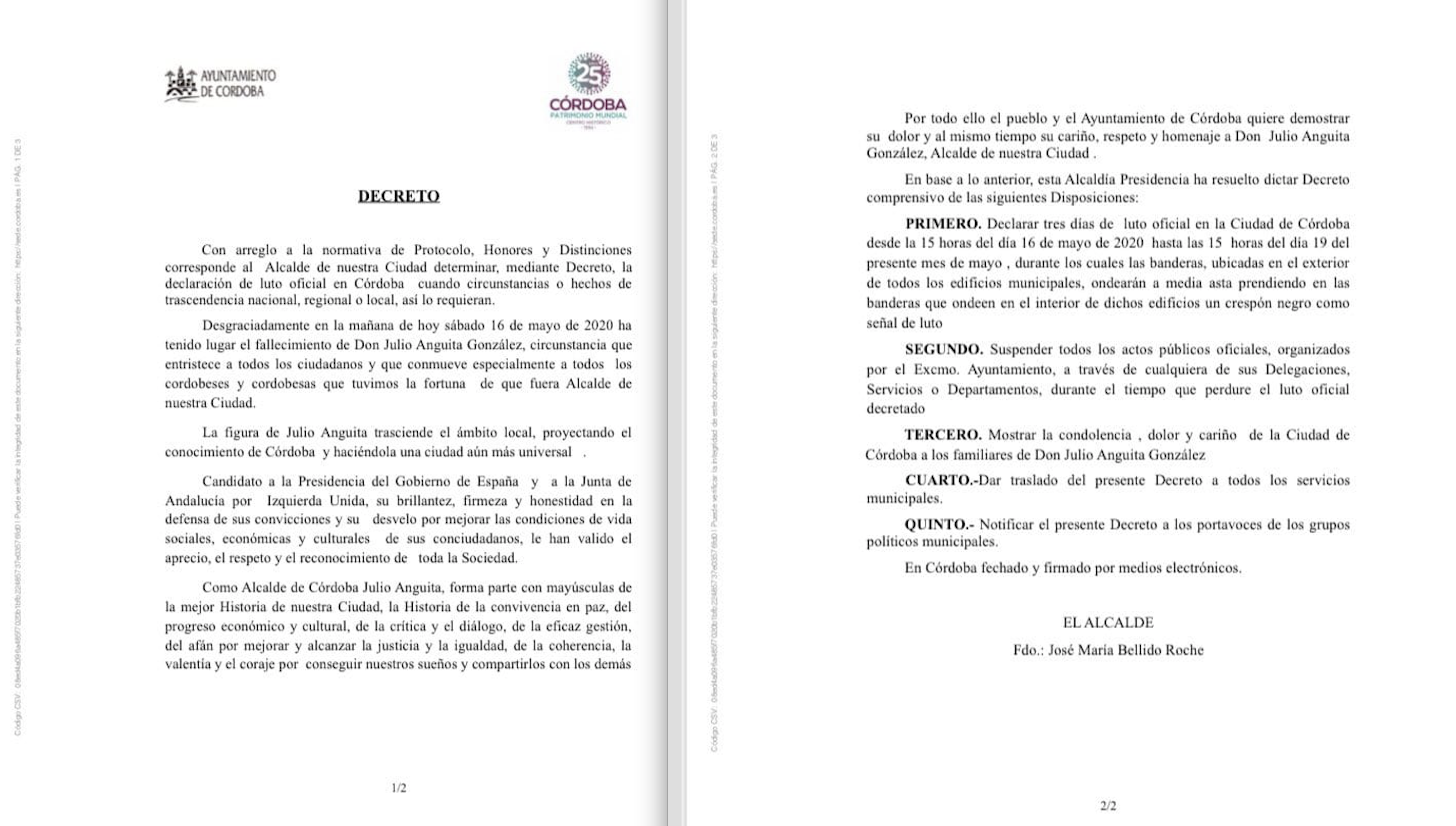 Luto municipal en Córdoba por Anguita